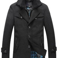 Match Men's Wool Winter Fleece Lined Pea Coat