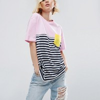 ASOS T-Shirt in Cutabout Stripe with Contrast Pocket at asos.com