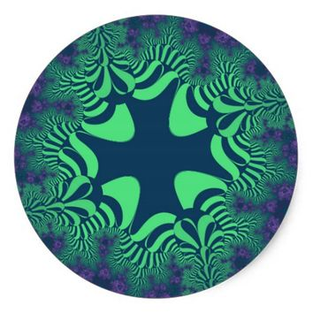 Green Grove Star Large Round Stickers