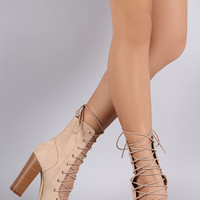 Liliana Corset Lace Up Open Toe Ankle Booties