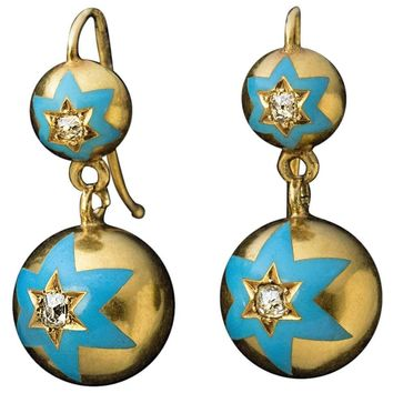 Antique Russian Gold Blue Enamel Diamond Drop Earrings