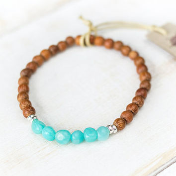 Natural blue amazonite bracelet, Wooden bracelet, Healing crystals and stones, Turquoise amazonite jewelry, Throat chakra, Virgo bracelet