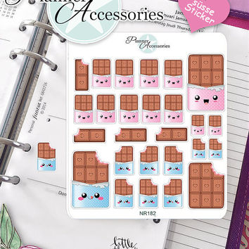 Sticker Sheet Chocolate Kawaii Erin Condren, Happy Planner, Filofax, Kikki K -NR182