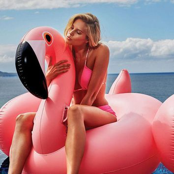 VONC1Y Giant Inflatable Flamingo Pool Float Pink Ride-On Swimming Ring Adults Children Water Holiday Party Toys Piscina