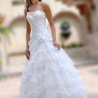 Buy discount Lovely Taffeta & Organza Full-length Strapless Beaded Wedding Dress/ Ball gown at dressilyme.com