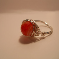 Silver Plated Wire Wrapped Fire Haze Orange/Red Agate Ring, silver wire wrapped ring, wire wrapped ring, orange agate wire wrapped ring