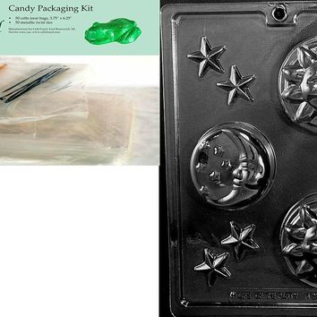 Cybrtrayd Celestial Bars Mold Chocolate Candy Mold with Packaging Bundle of 50 Cello Bags, 25 Gold and 25 Silver Twist Ties