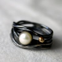 Supermarket - Black Pearl with Gold Caviar Ring from Rachel Pfeffer Designs