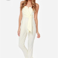 LULUS Exclusive Sash Money Strapless Cream Jumpsuit