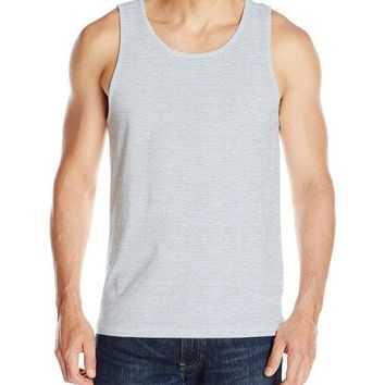 Fashion Men's 100% Cotton O-Neck Tank Tops Summer Male Sleeveless Vest Casual Printing Solid color high elastic