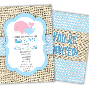 Soft Blue Whale Baby Shower Invitation - Mommy and Me Nautical Baby Shower Invites - boy baby shower - baby shower invite - Its a Boy burlap