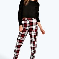 Louisa Crepe Tartan Check Tapered Trousers