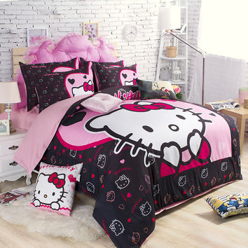 Hello Kitty bedding set king queen twin Cartoon cotton comforter duvet quilt cover single double kids girls bed linen fabric