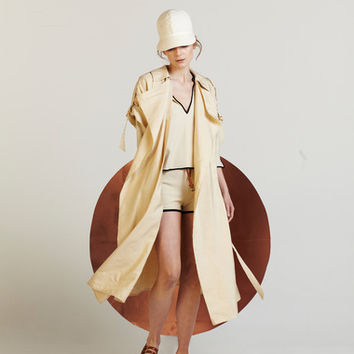 Silk And Linen Pleated-Back Raincoat