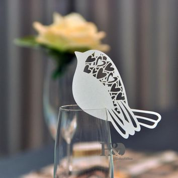 120PC/lot 43Color Laser Cut Bird With Heart Wedding Invitation Wine Glass Cup Paper Cards Name Card Souveris Party Wedding Decor