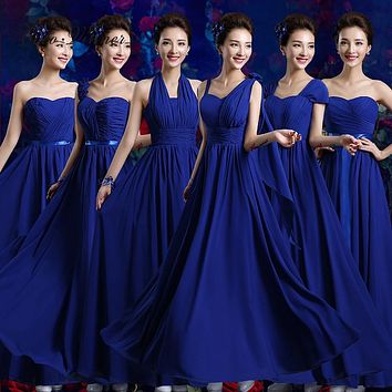 C.V Custom Made Size plus size long bridesmaid dresses 2017 blue purple white color 6 styles Prom Dress party dress women