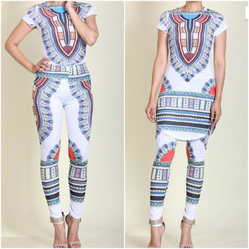 New White And Blue Sexy Chic Dashiki Tribal Print Legging Set Size Small