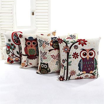 Luxury Linen Cotton Pillowcase Owl Patterns Throw Pillow Cover Cushion Office Home Bed