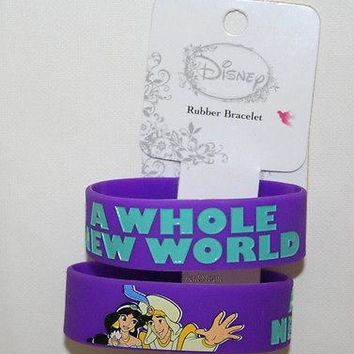 Licensed cool NEW Disney Aladdin and Princess Jasmine A Whole New World Song Rubber Bracelet