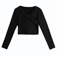 T Shirt Women Sexy Solid Crop Top Blusa Cross Bandage V-Neck Long Sleeve Pullover Casual Short Shirt Cropped Feminino SM6