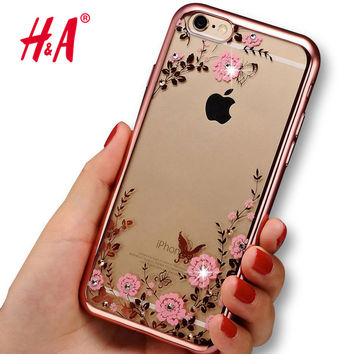 Luxury Secret Garden Flowers Rhinestone Cell Phone Cases For IPhone 6 6S coque Women Plating capa Case Cover