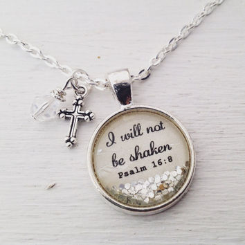 """Psalm 16:8 """"I will not be shaken"""" sparkle necklace, Christian jewelry, bible verse necklace, scripture necklace, cross necklace, faith gift"""