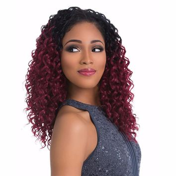 Medium Long Curly Hair Wig Red Wine Brown Wigs For Women Heat Resistant Auburn/14inches