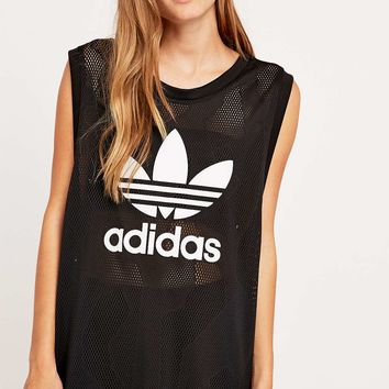 Adidas Trefoil Mesh Tank Top - Urban Outfitters