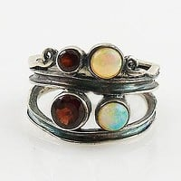 Ethiopian Opal & Garnet Sterling Silver Swirl Patina Band Ring