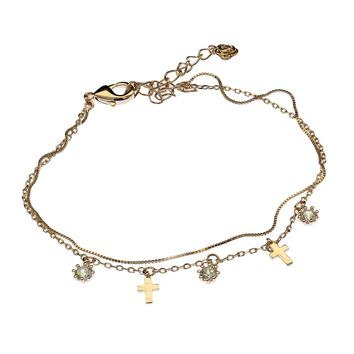 Women's Cross Charm Bracelet Swarovski Element Tennis Bangle Crystal Jewelry for Woman Aluminum Plated