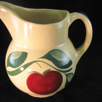 Watt USA Pottery Yellow Ware #15 Pitcher, Single Apple With 3 Green Leaves Rare Pattern, Vintage 1950s, Farmhouse Decor, Gift For Her