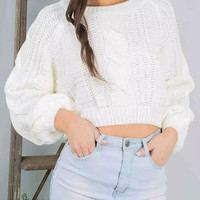 White Cropped Knitted Sweater