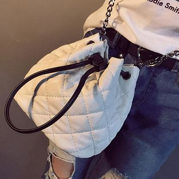 Women PU Leather Weave Bucket Bag Mini Crossbody Bag