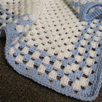 Crochet Christening or Blessing Blanket - Baby Blue and Pearl White Baby Granny Square Afghan