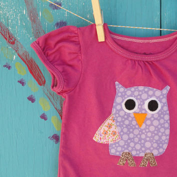 Owl Appliqued Tshirt Handdyed Violet 12 month Short by OddEDesigns