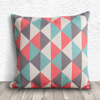 Geometric Pillow Cover, Pillow Cover, Fuschia Pillow Cover, Linen Pillow Cover, 18x18 - Printed Geometric - 029