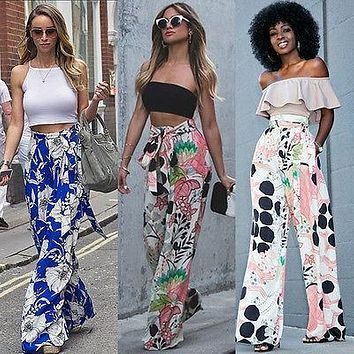 Women Loose Stretch High Waist Wide Leg Long Pants Palazzo Trousers Size S-XL Summer Sring Casual Pant Clothing