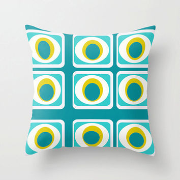 Mod Turquoise Outdoor Pillow, Funky  Outdoor Pillow, Modern Outdoor Pillow, Mod Cushion,Funky Outdoor Cushion ,Fun Cushion