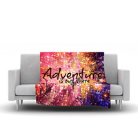 "Ebi Emporium ""Adventure is Out There"" Pink Typography Fleece Throw Blanket"