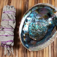 SAGE SMUDGE KIT - White Sage Stick, Abalone Shell & Instructions on How to Smudge Your Home
