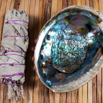 SAGE SMUDGE KIT - White Sage Stick, Abalone Shell & Instructions on How to Smudge Your Home, Smudge Set, Smudging Set