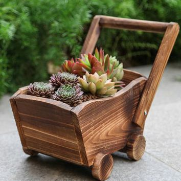 Hand Crafted Small Wooden Cart Planter