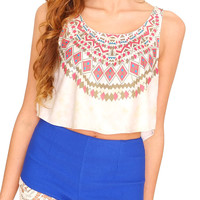 Festival Crop Top - Ivory Print
