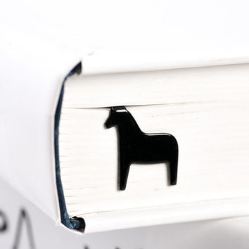 Bookmark Dala horse laser cut metal powder coated black Stylish unique gift for book lover Free shipping.