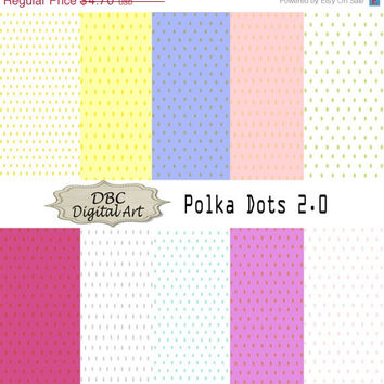 ON SALE Polka Dot Digital Paper, Scrapbooking, Scrapbooking paper Invitation, Background, Polka Dots in Blue, Gray, Yellow, Peach, Pink, Pur