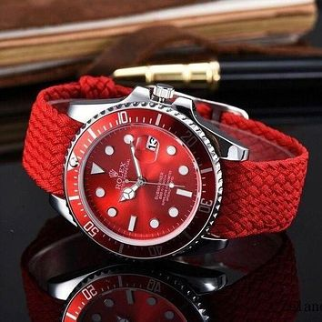 Rolex Fashion Simple Ladies Men Quartz Sport Movement Watch(6-Color) Red I