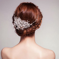 Stunning Clear Crystal and Rhinestone Hair Vine/Frontlet