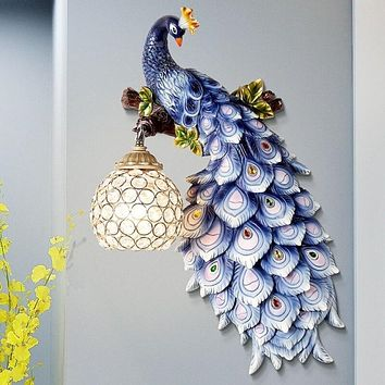 LED Crystal Blue Peacock Wall Lamp