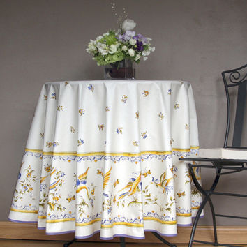 70 inches Round Tablecloth - Provence Moustier Birds in Blue or Red - Ready to ship - Umbrella hole, Napkins and Bread Basket available.