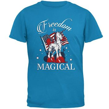 4th Of July Freedom Is Magical Unicorn Mens T Shirt